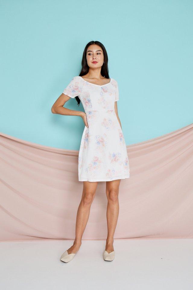 Paris 2-Way Floral Button Dress in white