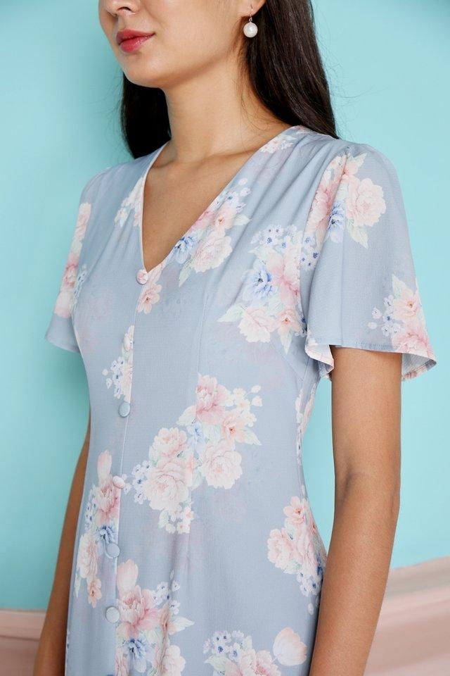 Micha Floral Button Midi Dress in Blue