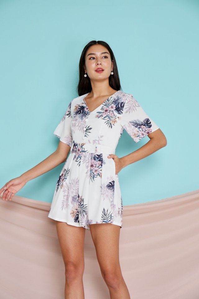 Rozella Floral Signature Romper in White