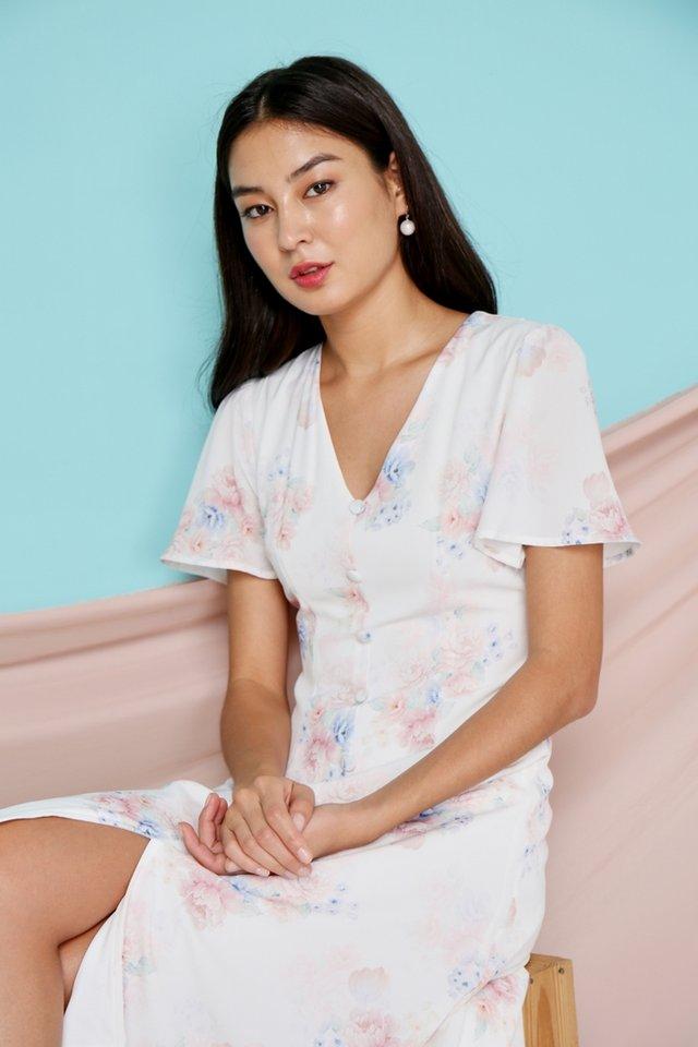 Micha Floral Button Midi Dress in White