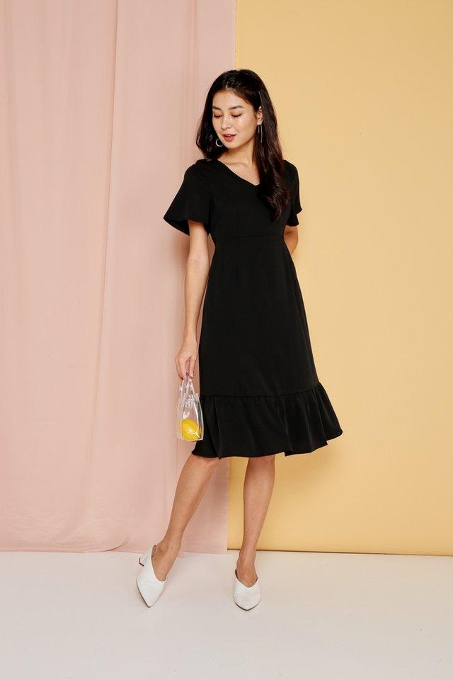 Raissa Dropwaist Midi Dress in Black