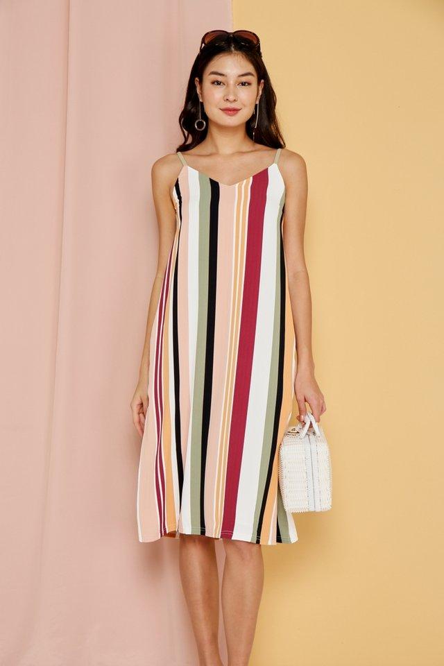 Rosella Multi Striped Midi Dress in Wine (L)