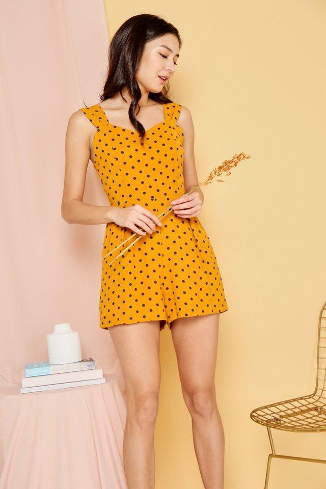 Adrianna Polka Dots Romper in Mustard