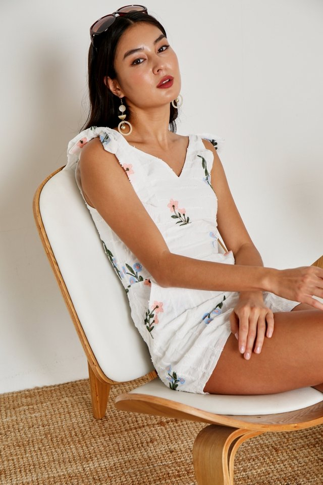Jacey Floral Embroidery Romper in White
