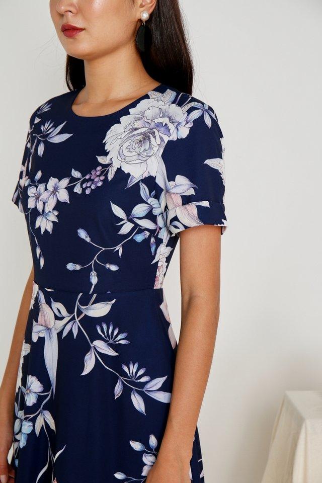 Tamia Floral Skater Dress in Navy