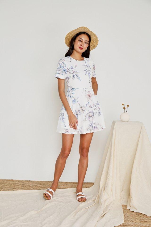 Tamia Floral Skater Dress in White