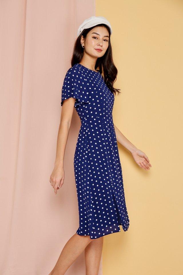 Parisa Polka Dots Flare Sleeves Midi Dress in Navy