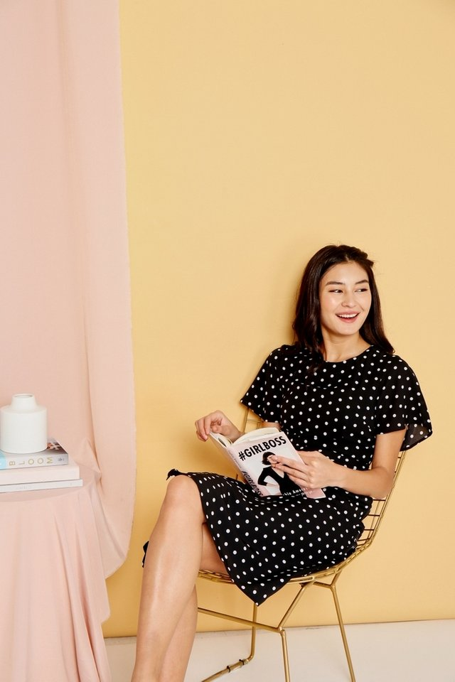 Parisa Polka Dots Flare Sleeves Midi Dress in Black