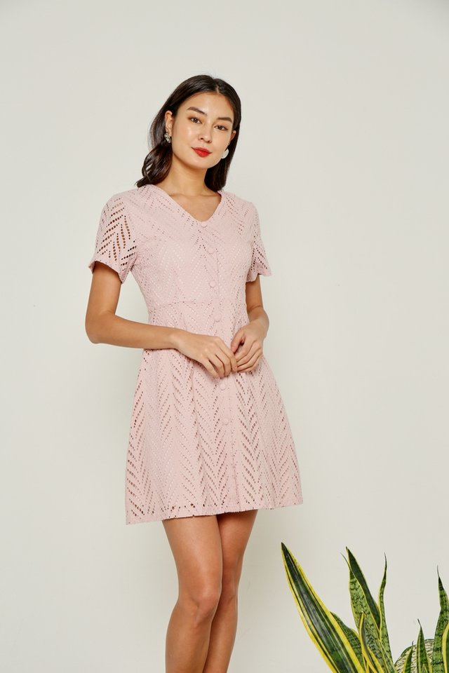 Amaya Faux Button Eyelet Dress in Pink