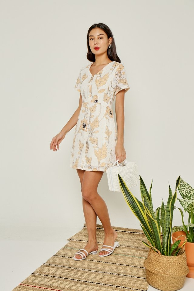 Tiana Floral Button Eyelet Dress in Mustard