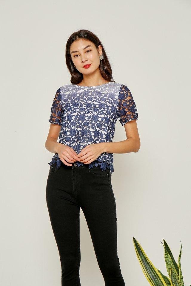 Audrina Ombre Crochet Sleeved Top in Navy