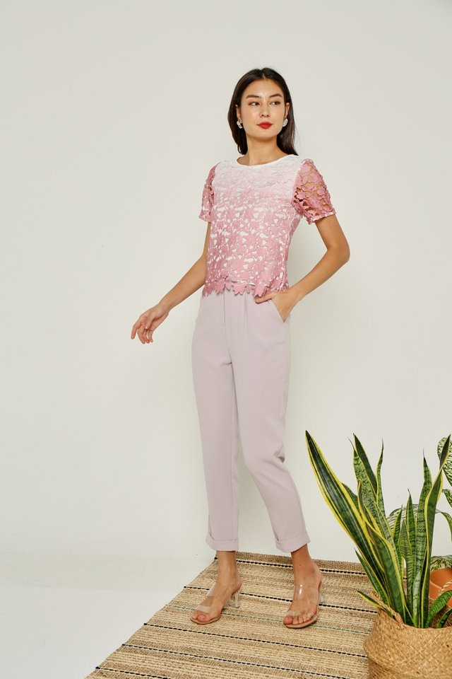 Audrina Ombre Crochet Sleeved Top in Rose