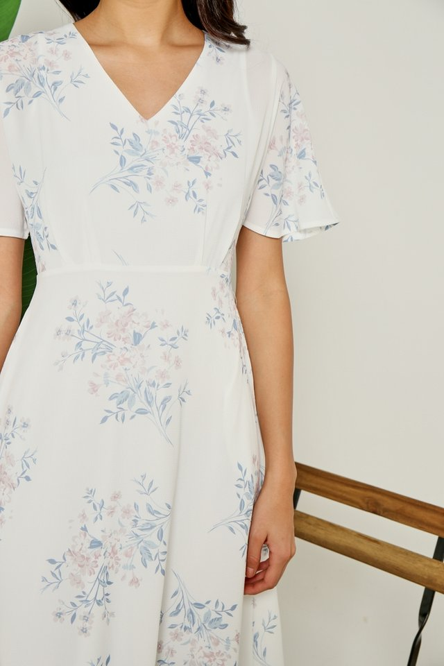 Julee Floral Fit and Flare Midi Dress in White