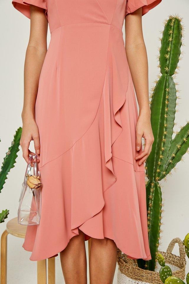 Avalyn Petal Hem Midi Dress in Sweet Coral (XS)