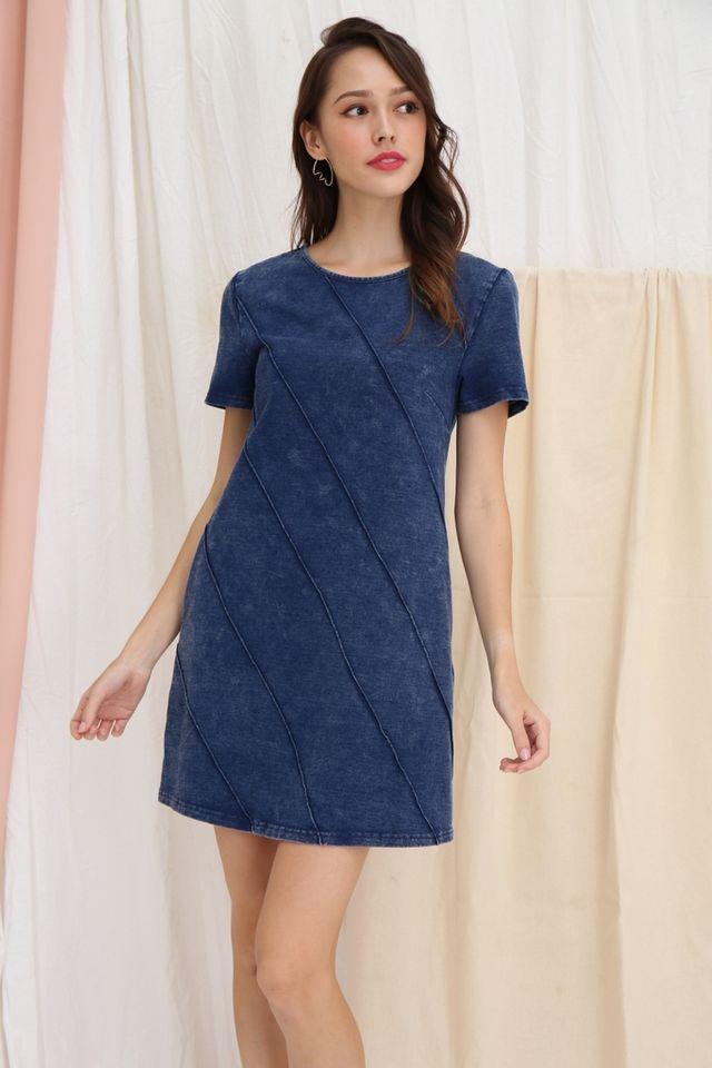 Zabrina Denim Shift Dress in Mid Wash