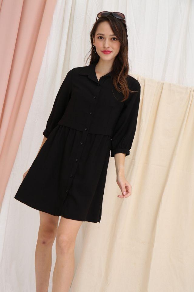 Saffron Button Layered Shirt Dress in Black