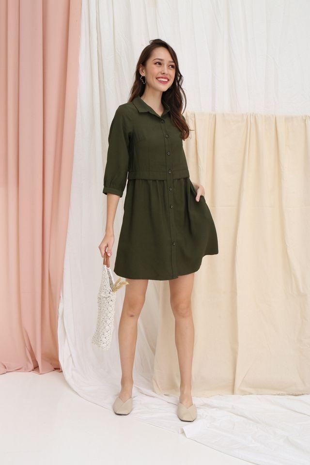 Saffron Button Layered Shirt Dress in Olive