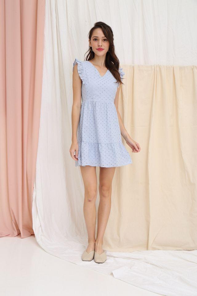 Aubrey Eyelet Babydoll Dress in Powder Blue