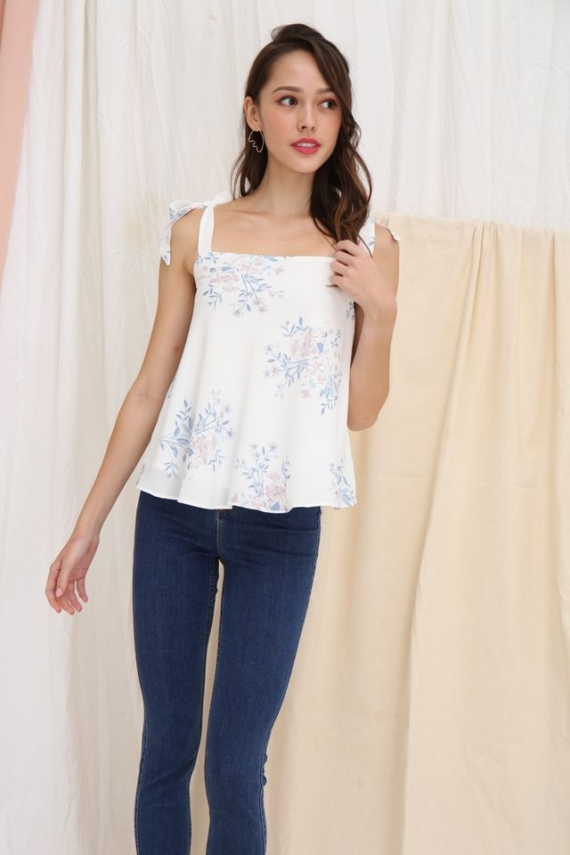 Penelope Floral Ribbon Top in White