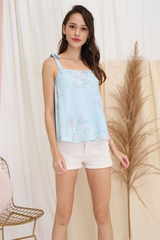 Penelope Floral Ribbon Top in Blue
