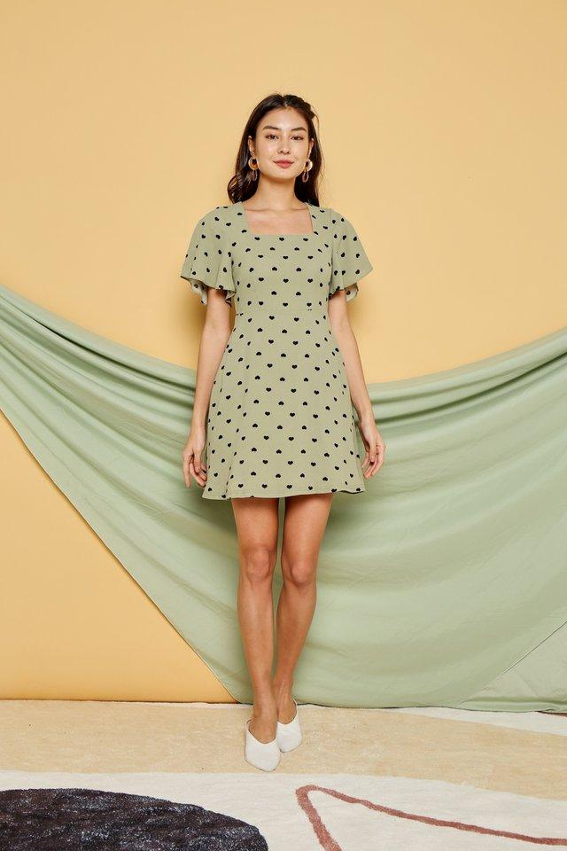 Belle Heartshaped Square Neck Dress in Sage