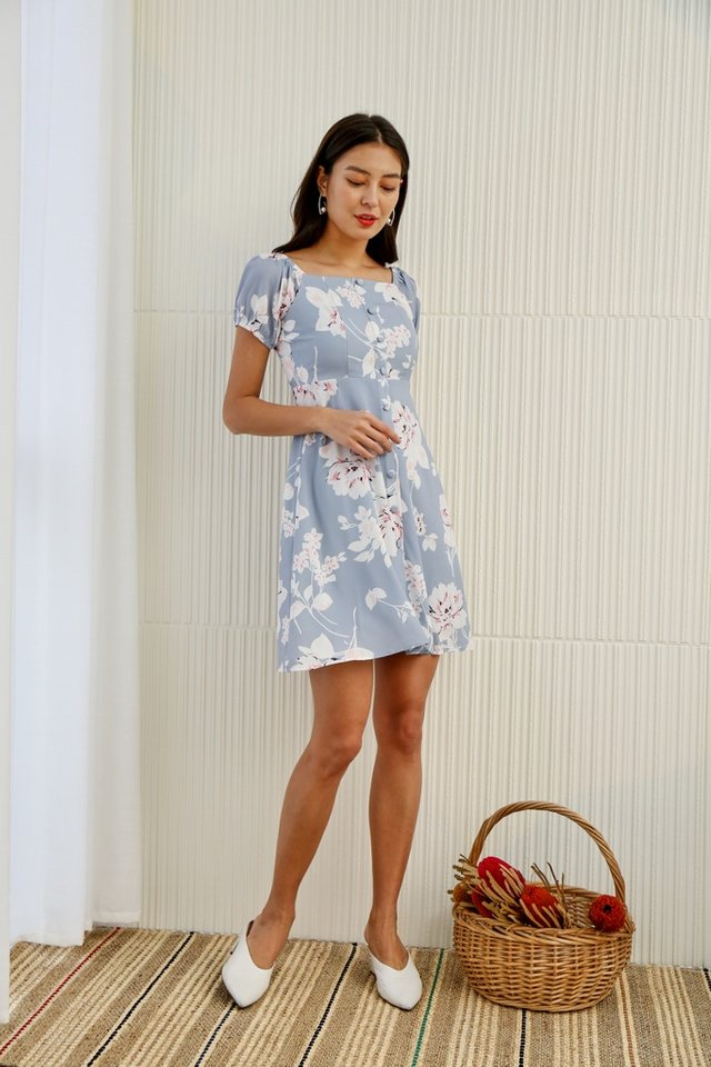 Ellea Floral 2-Way Button Dress in Powder Blue