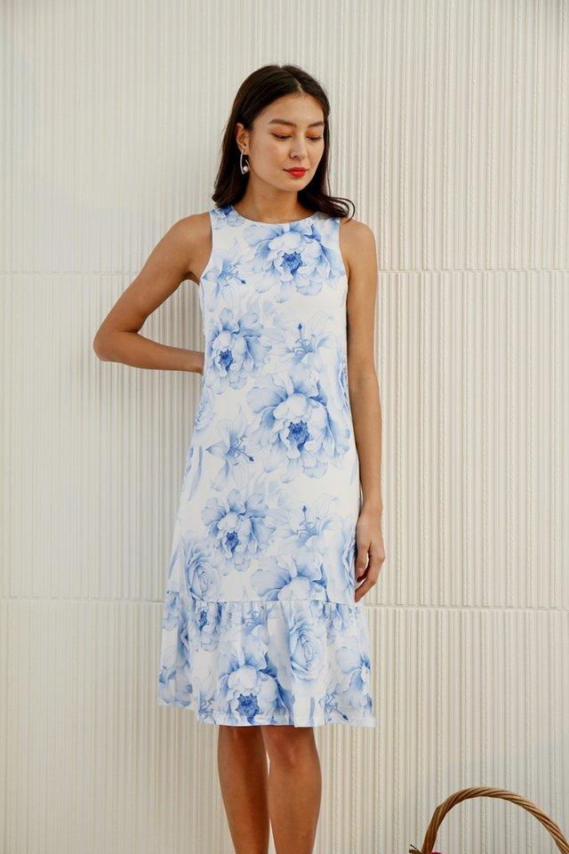 Avah Romantic Floral Dropwaist Midi Dress in Blue