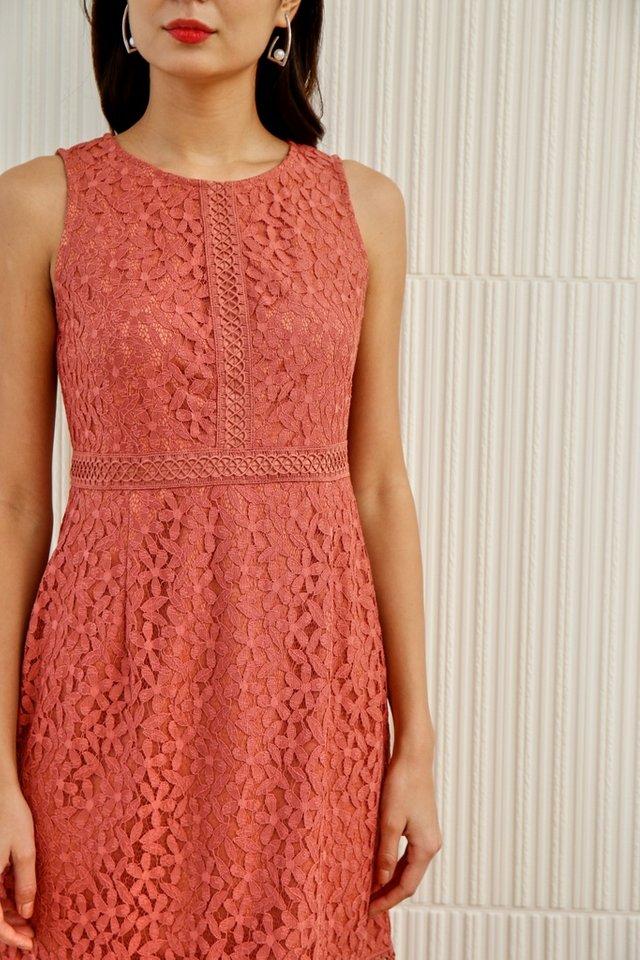 *Online Exclusive* Averi Eyelet Trim Lace Mermaid Dress in Peach