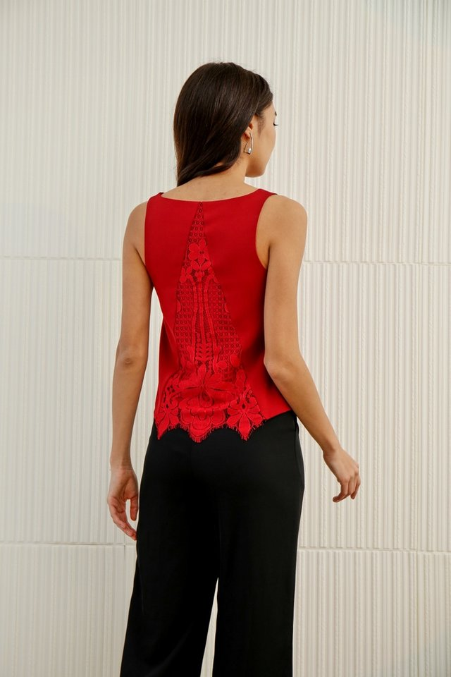 *Online Exclusive* Nina Lace Insert V-neck Top in Wine
