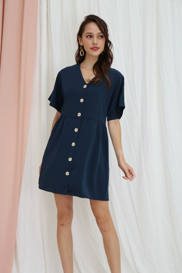 Sheree Button Babydoll Dress in Teal