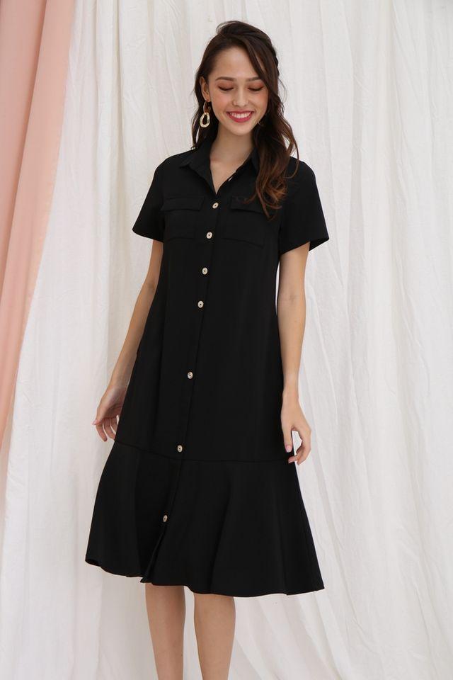 Nicolle Button Shirt Dropwaist Dress in Black