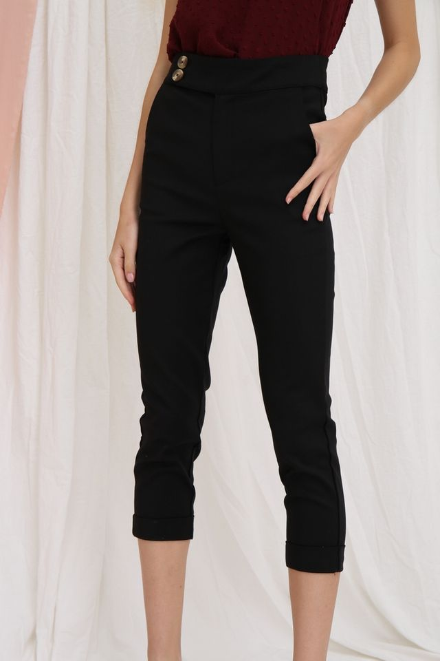 Leonie Button High Waisted Pants in Black