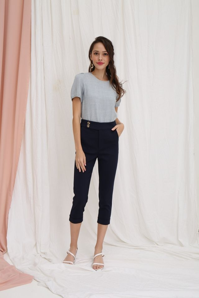 Leonie Button High Waisted Pants in Navy