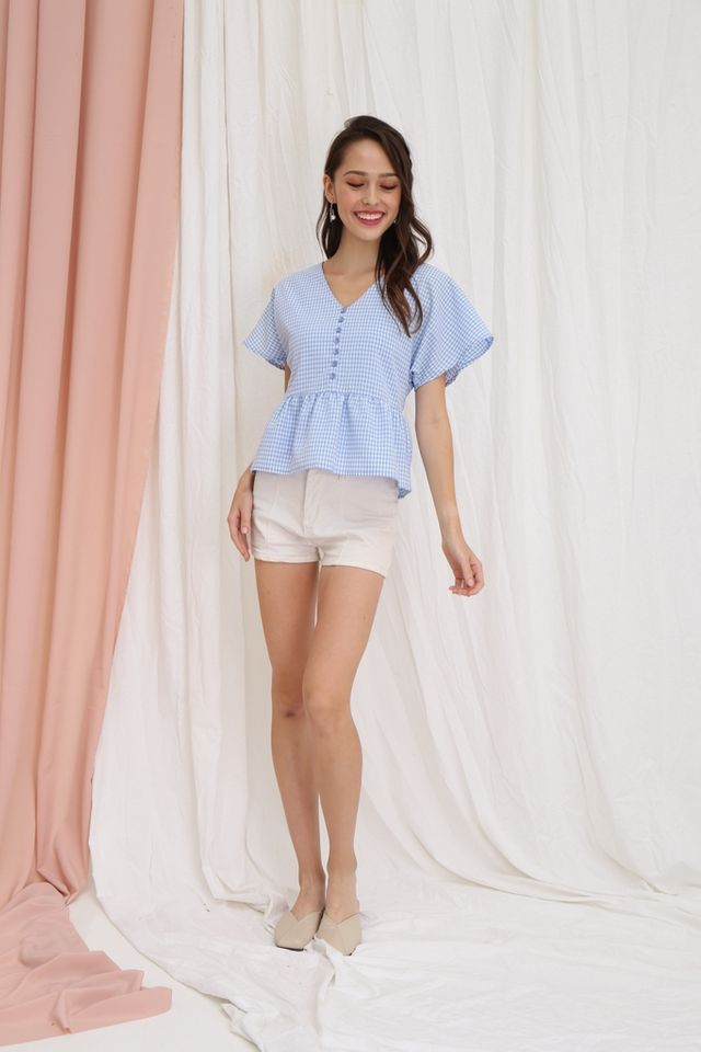Assia Checkered Babydoll Top in Blue
