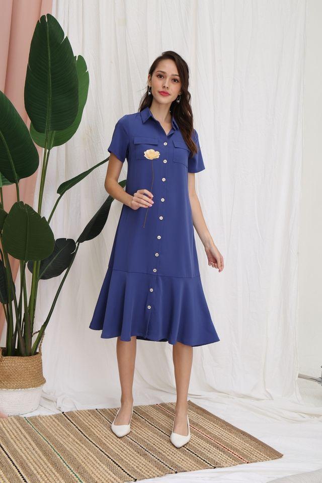 Nicolle Button Shirt Dropwaist Dress in Blue