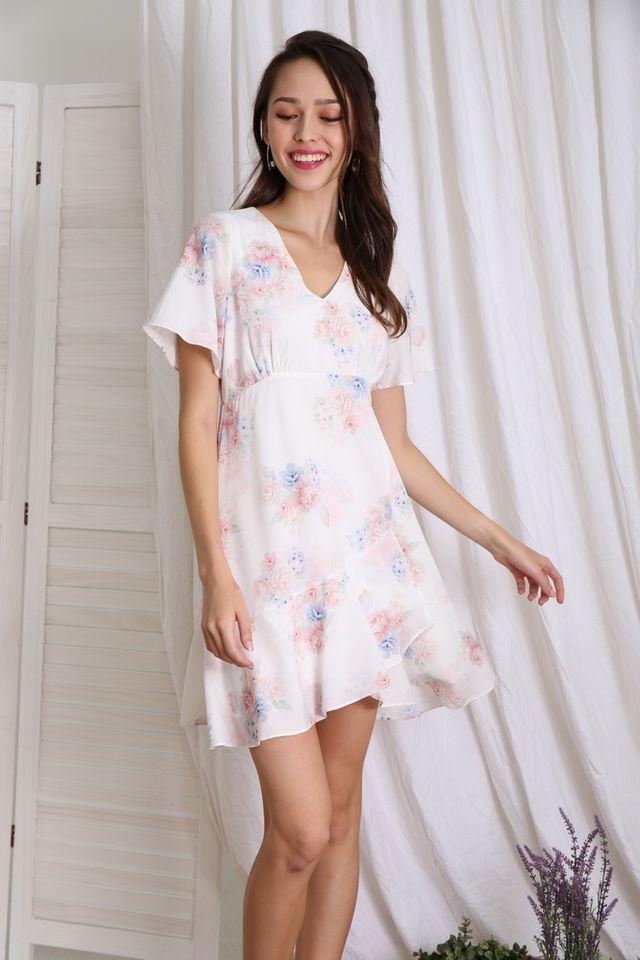 Romane Floral Empire Ruffles Dress in White
