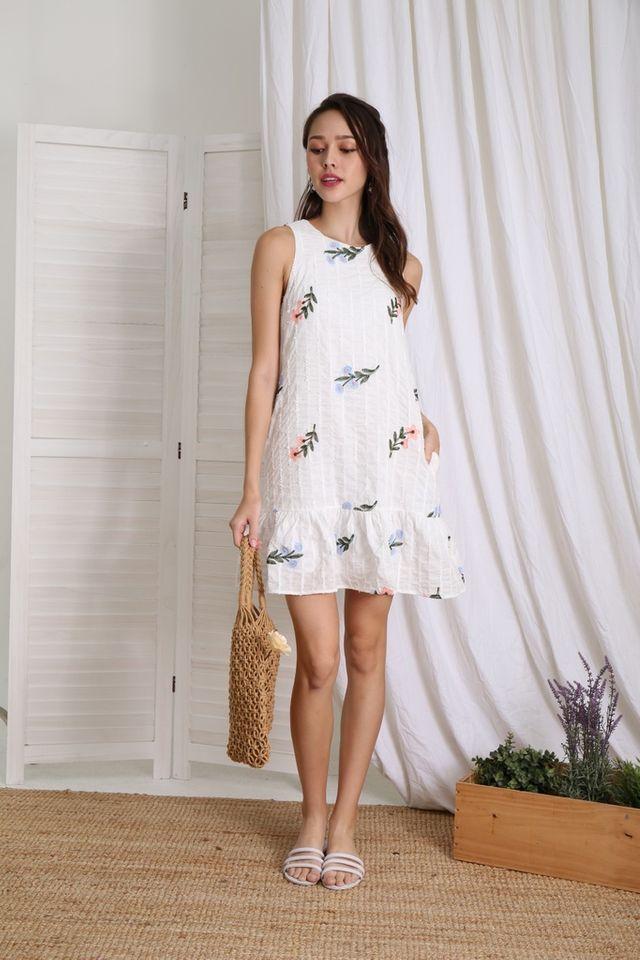 Nelda Floral Embroidered Dropwaist Dress in White