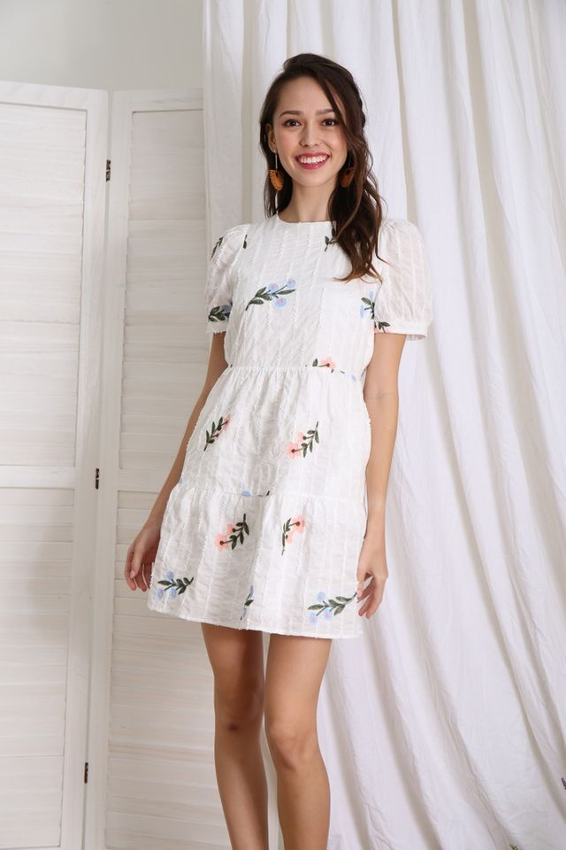 Elsa Floral Embroidered Tiered Dress in White