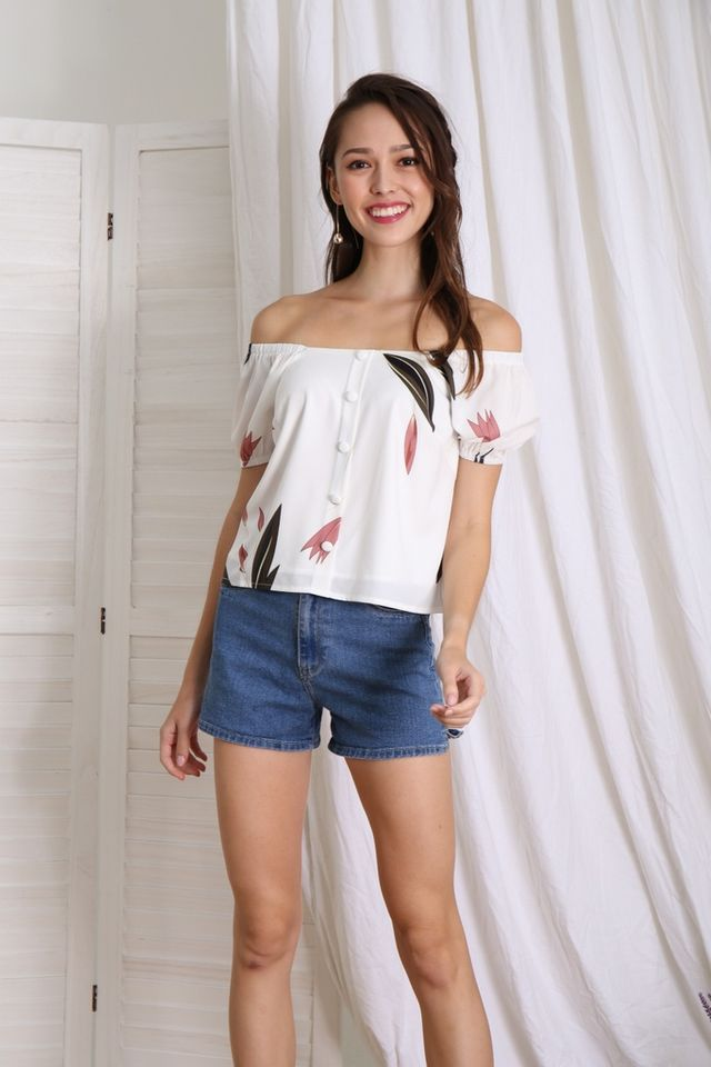 Madeleine 2-way Peony Top in White