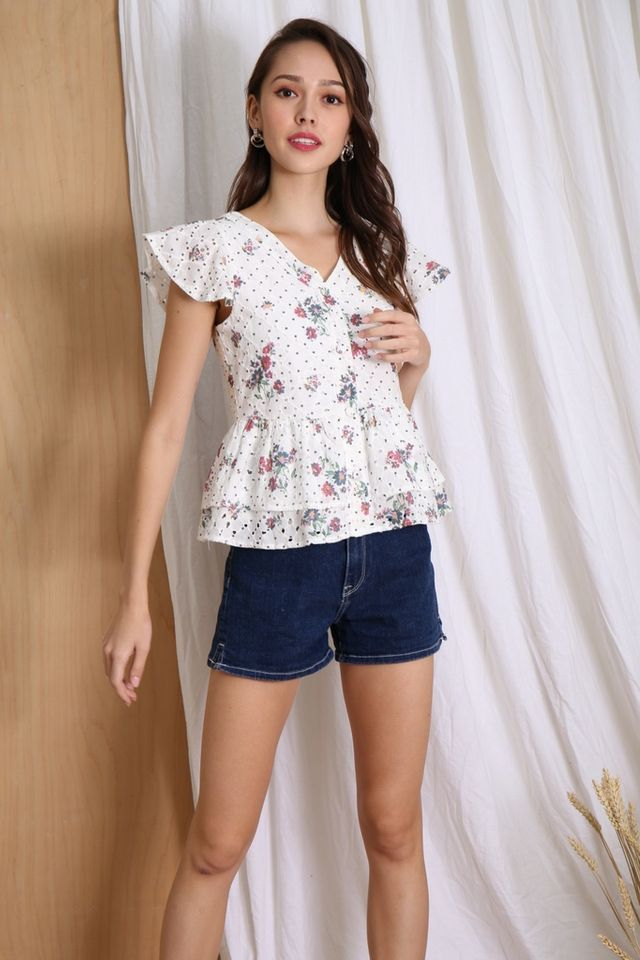 Aylin Floral Eyelet Babydoll Top in White
