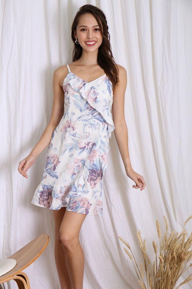 Sara Floral Ruffles Hem Dress in White
