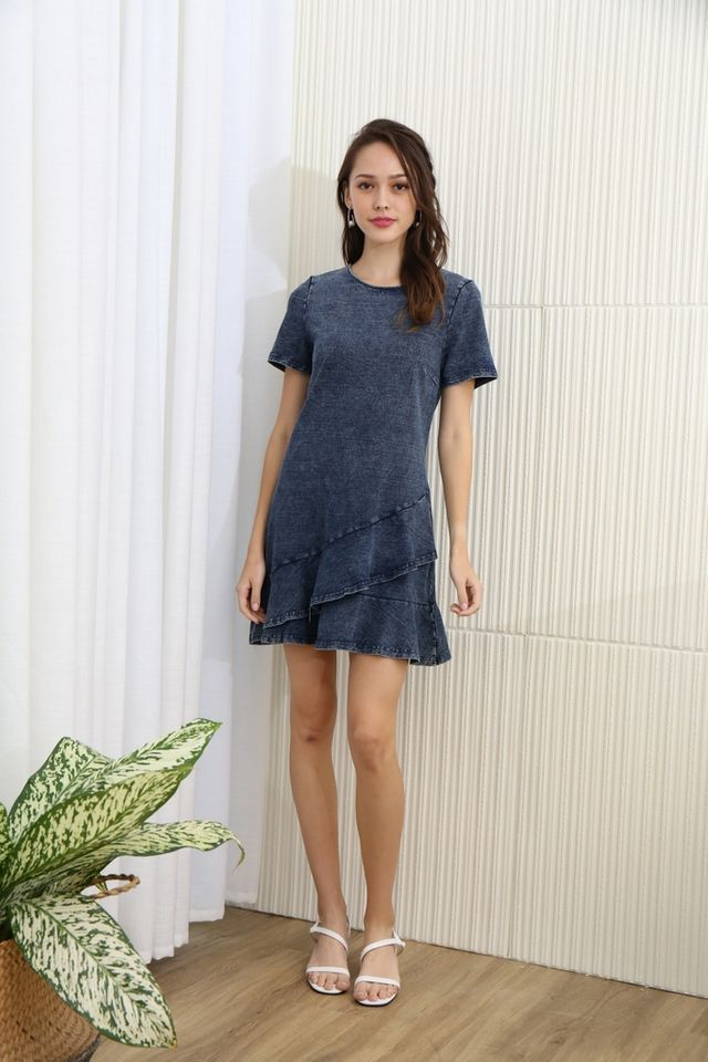 Gretal Denim Tiered Ruffles Hem Dress in Dark Wash