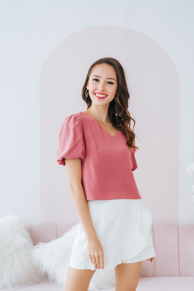 Vanessa Puffed Sleeves Top in Rose