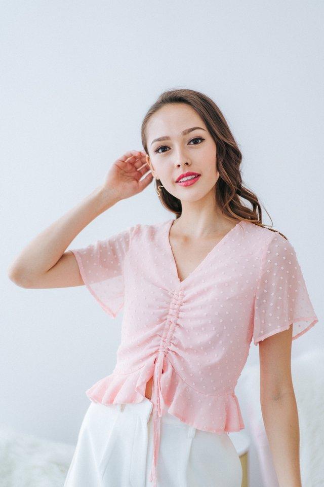 Alaina Swiss Dot Scrunch Top in Pink