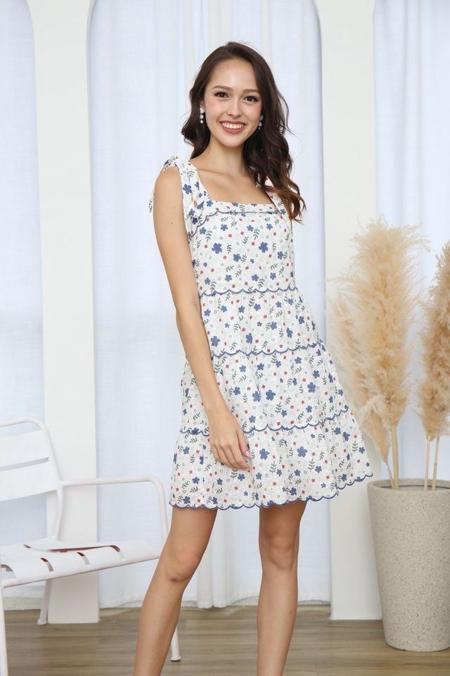 Zoie Floral Eyelet Ribbon Dress in Blue