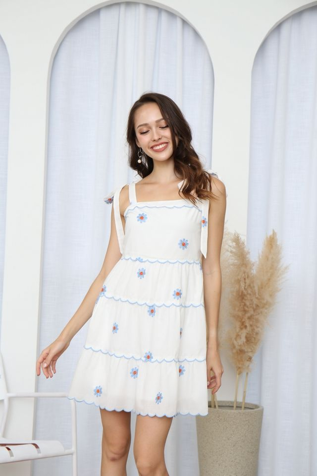 Zoie Floral Eyelet Ribbon Dress in White