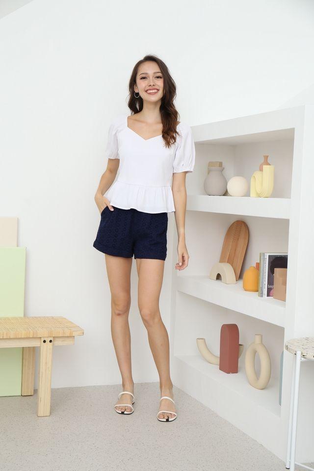 Melina Poofy Sleeves Peplum Top in White