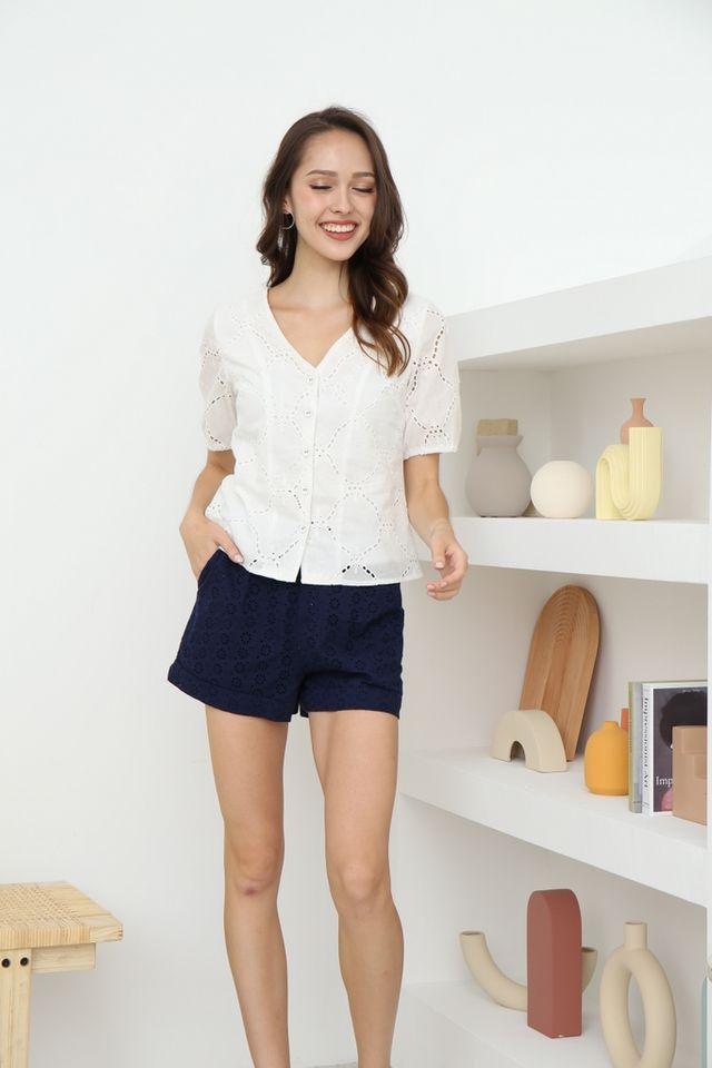 Helene Button Eyelet Top in White