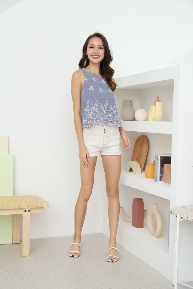 Keily Floral Swiss Dot Top in Blue