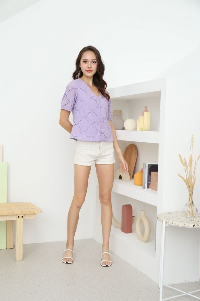 Helene Button Eyelet Top in Lilac